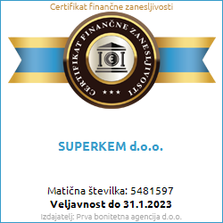 Certifikat finančne zanesljvosti za podjetje SUPERKEM d.o.o.